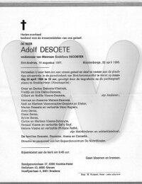 Overlijdensbericht Adolf Desoete